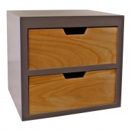 2 Drawer Chest In Grey Finish With Natural Drawers With Removable Legs
