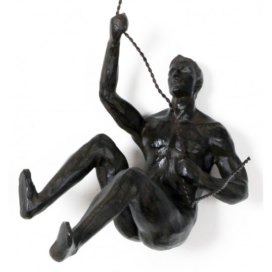 Abseiling Man Looking Up Ornament Black