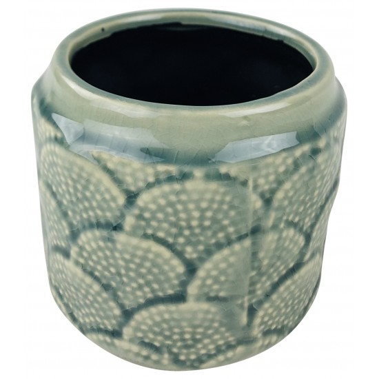 Blue Ceramic Textured Vase 11.5cm