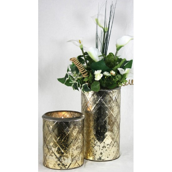 Glass Candle Holder With Metal Ring Gold