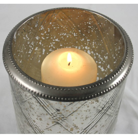 Glass Candle Holder With Ring Silver