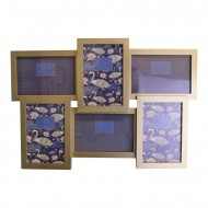 Champagne Gold Wall Hanging Multi Photo Frame, Space For 6 Photos