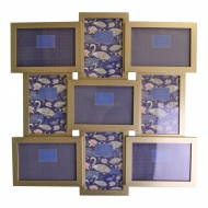 Champagne Gold Wall Hanging Multi Photo Frame, Space For 9 Photos