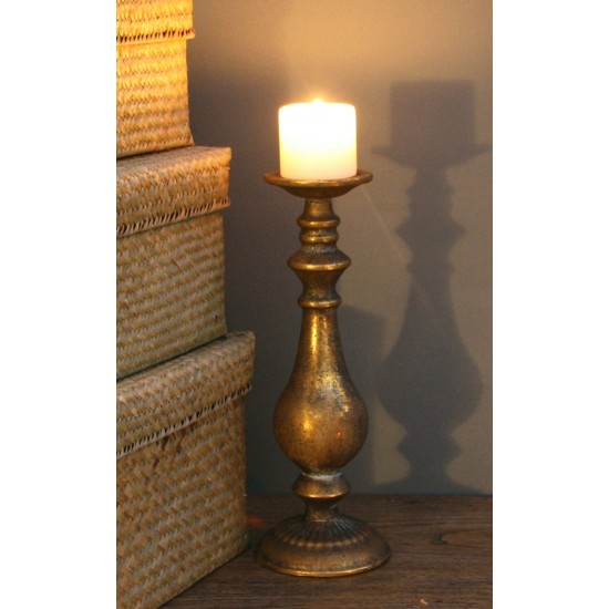 Small Gold Distressed Candlestick