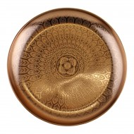 Decorative Copper Metal Tray With Etched Design
