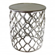Decorative Silver Metal Side Table