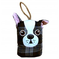 Dog Head Doorstop - Blue Check