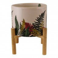Fernology Ceramic Candle Pot with Wooden Stand, Half Fern Design