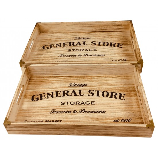 Set of 2 Solid Wood Trays 45cm