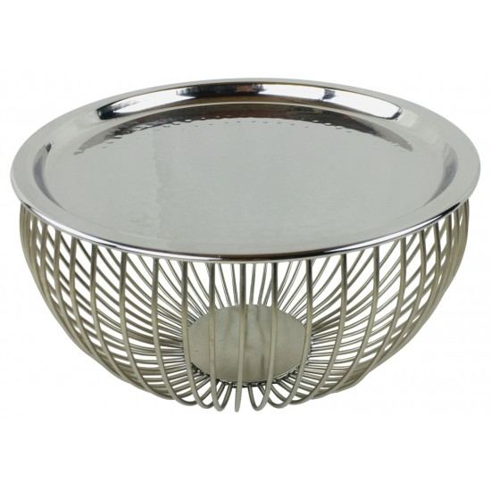 Set Of 3 Silver Bowls With Plate Tops