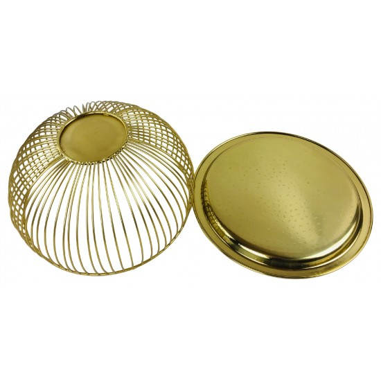 Set Of 3 Gold Bowls With Plate Tops