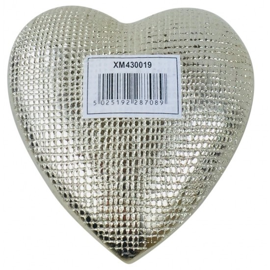 Small Aluminium Textured Heart 11cm