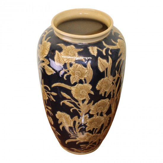Ceramic Embossed Vase, Regal Design 35cm