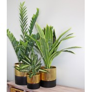 Gold and Black Set Of Three Ribbed Metal Planters