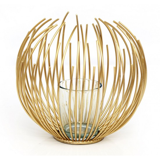 Gold Wire Candle Holder 16cm