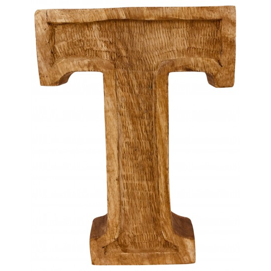 Hand Carved Wooden Embossed Letter T