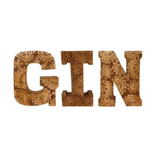 Hand Carved Wooden Flower Letters Gin