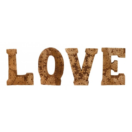 Hand Carved Wooden Flower Letters Love