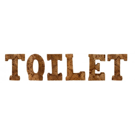 Hand Carved Wooden Flower Letters Toilet