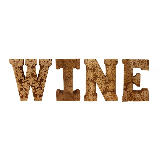 Hand Carved Wooden Flower Letters Wine