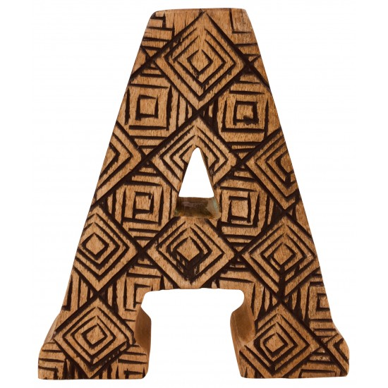 Hand Carved Wooden Geometric Letter A