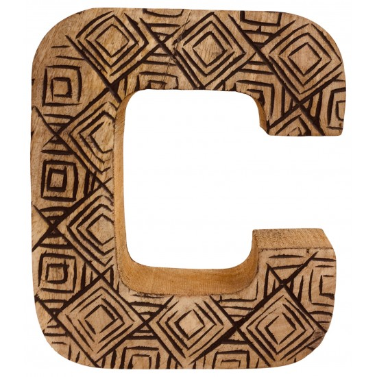 Hand Carved Wooden Geometric Letter C