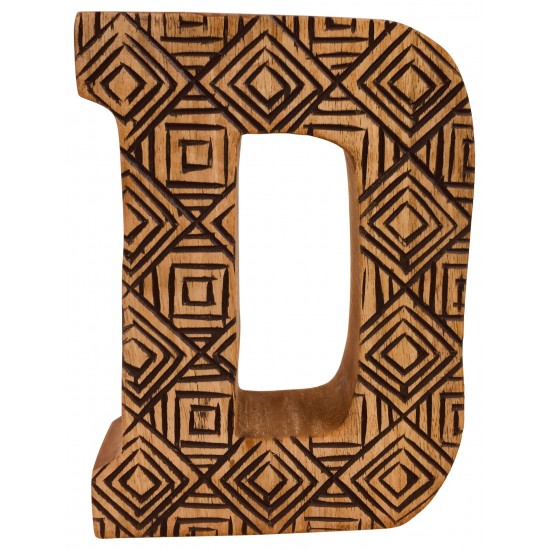 Hand Carved Wooden Geometric Letter D