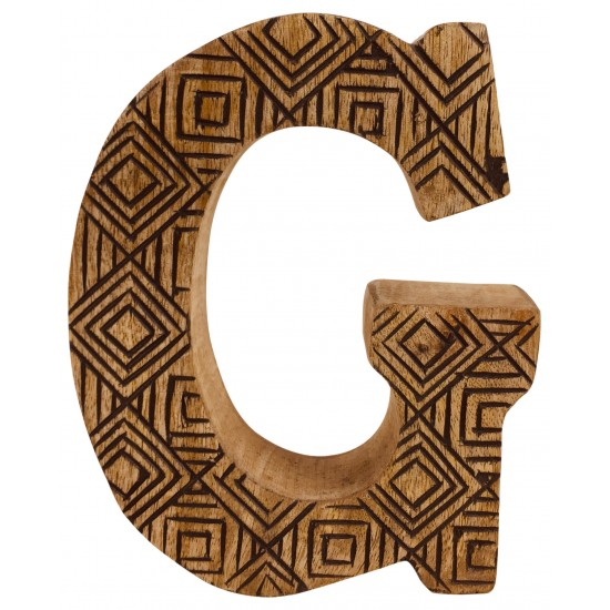 Hand Carved Wooden Geometric Letter G