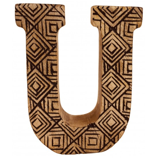 Hand Carved Wooden Geometric Letter U