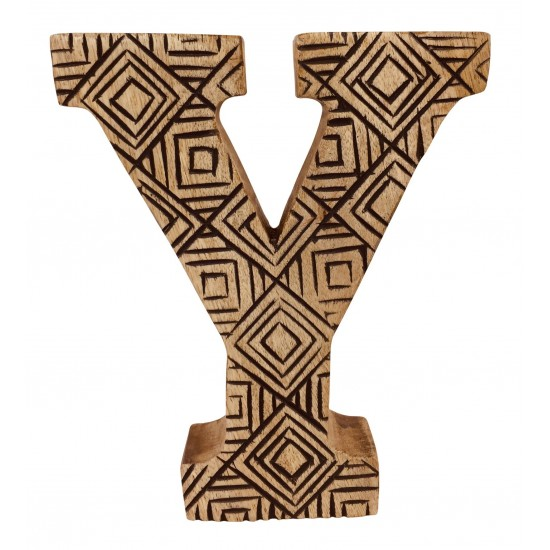 Hand Carved Wooden Geometric Letter Y