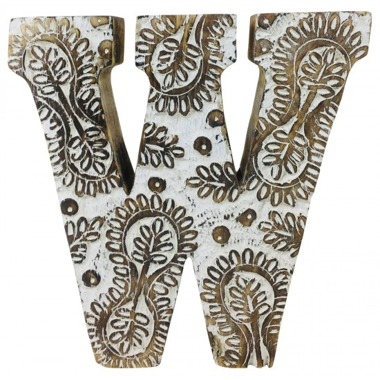 Hand Carved Wooden White Flower Letter W