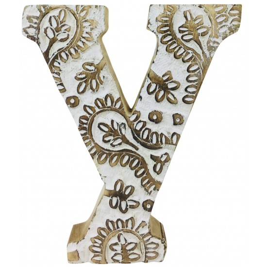 Hand Carved Wooden White Flower Letter Y