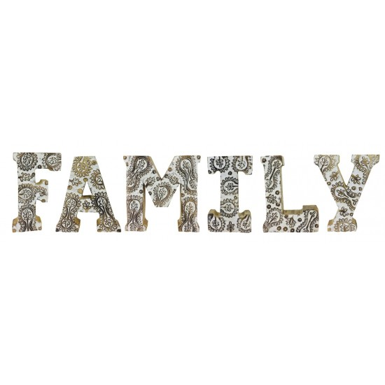 Hand Carved Wooden White Flower Letters Family