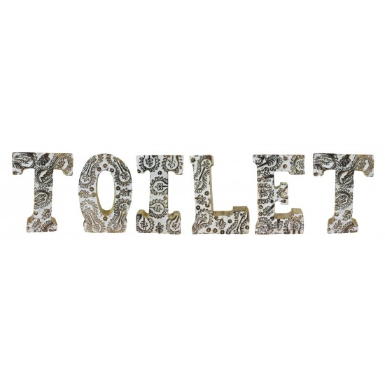 Hand Carved Wooden White Flower Letters Toilet
