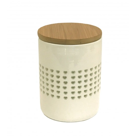 Heart Cut Out Storage Canister With Wood Lid