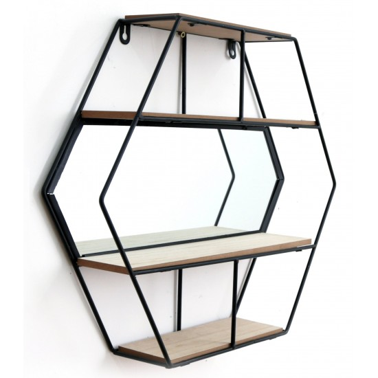 Hexagon Unit With Mirror & 3 Shelves