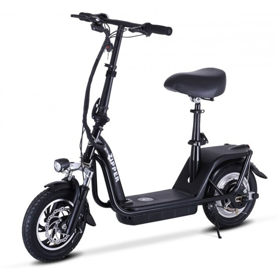 ZIPPER S7 ELECTRIC SCOOTER WITH SEAT AND BIGGER 10AH BATTERY - BLACK