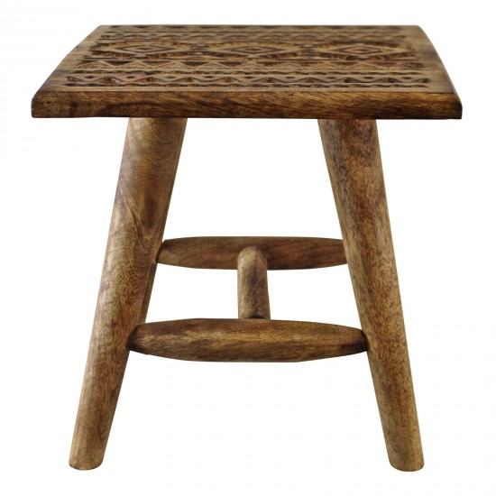 Kasbah Design Small, Hand Carved Wooden Stool