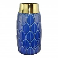 Large Art Deco Vase, Blue 30cm
