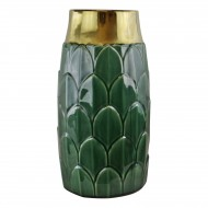 Large Art Deco Vase, Green 30cm
