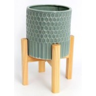 Large Ceramic Teal Coloured Planter On Wooden Stand