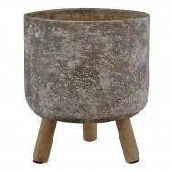 Large Grey Cement Planter With Wooden Legs, 20cm diameter