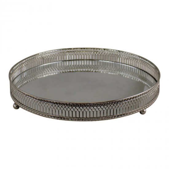 Large Silver Mirror Candle Plate