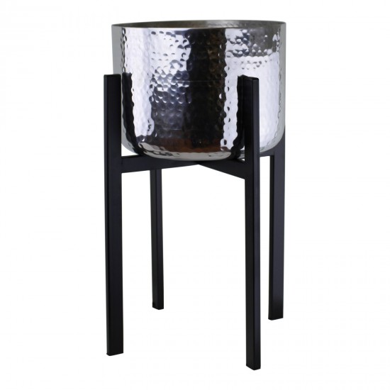 Large Silver Planter On Black Metal Stand