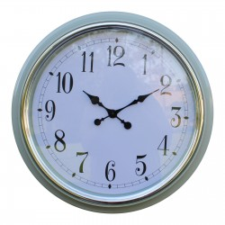 Large Silver Rimmed Wall Clock, Green, 56cm