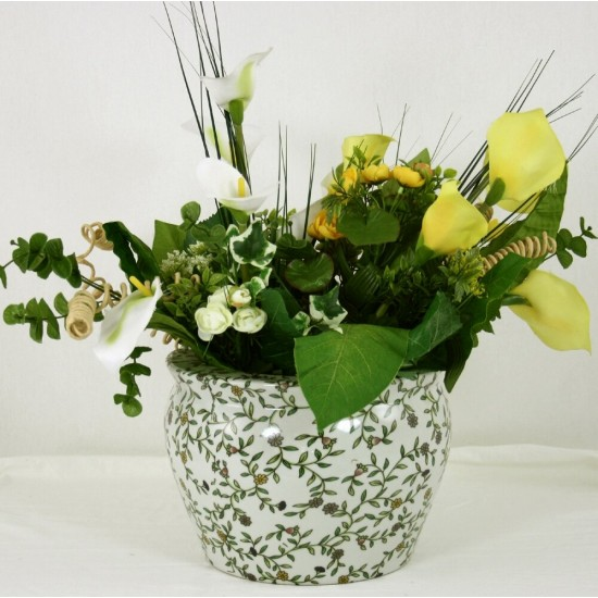 Ceramic Planter, Vintage Green & White Floral Design