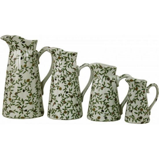 Set of 4 Ceramic Jugs, Vintage Green & White Floral Design