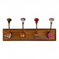 Mexican Floral Ceramic Hooks on Wooden Base