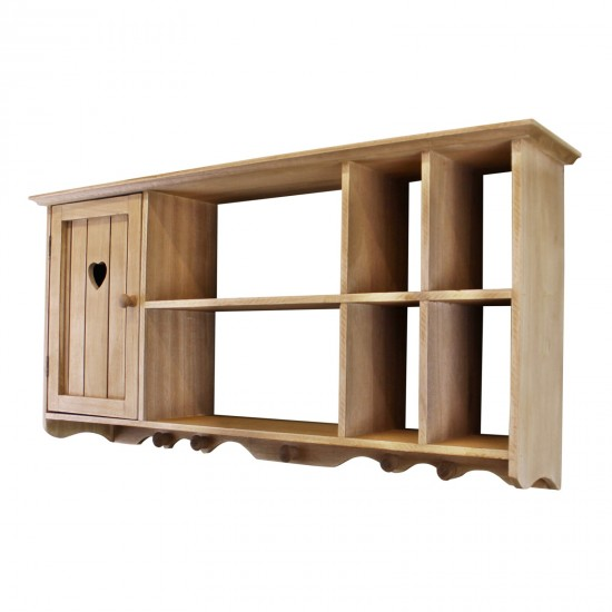 Wooden Wall Hanging Unit With Cupboard & Shelves