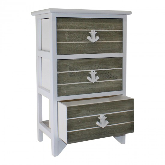 Chest Of 3 Drawers With Nautical Anchor Handles In Grey & White